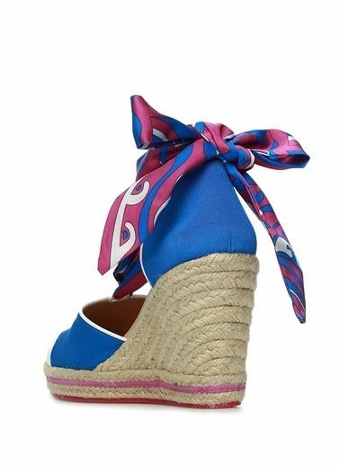 Emilio Pucci Emilio Pucci  Bağcık Detaylı Kadın Sandalet 101480867 Mavi